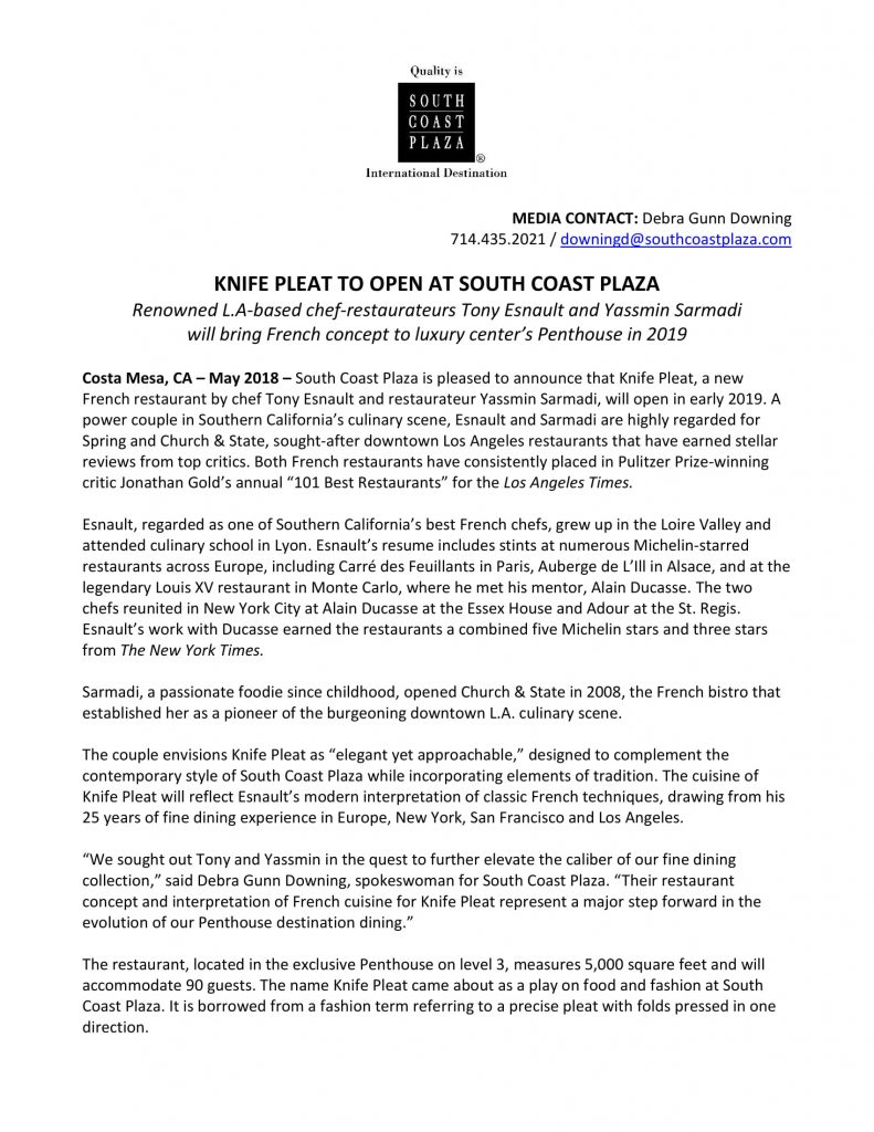 Knife Pleat to Open at South Coast Plaza – R&C Media Group, Inc